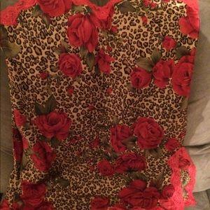 Victoria's Secret floral leopard lace slip top